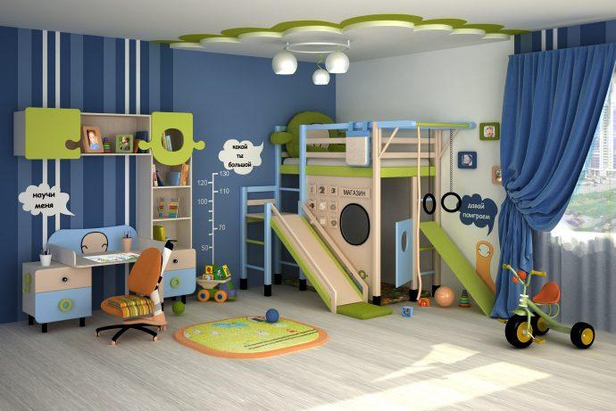 светлая детская мебель для мальчика в детскую комнату