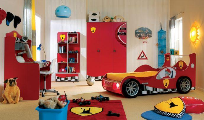 цветная детская мебель для мальчика в детскую спальню фото