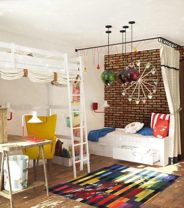 дизайнерская детская комната в лофт стиле