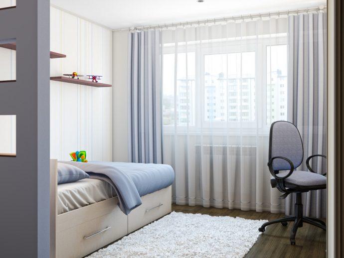 яркие шторы в детскую комнату в интерьере спальни