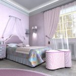 цветные шторы в спальню для девочки в интерьере комнаты картинка