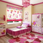 светлые шторы в спальню для девочки в интерьере картинка