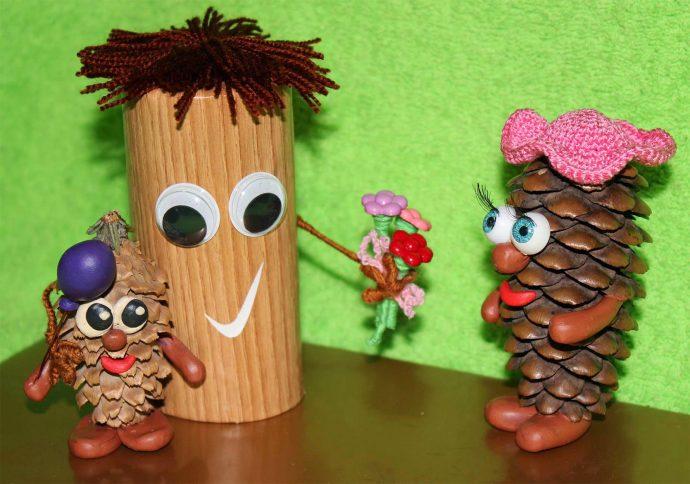 красивая игрушка животное из сосновой шишки из подручных материалов картинка