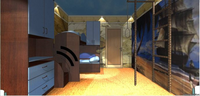 красивая детская комната для двух мальчиков пример дизайна фото