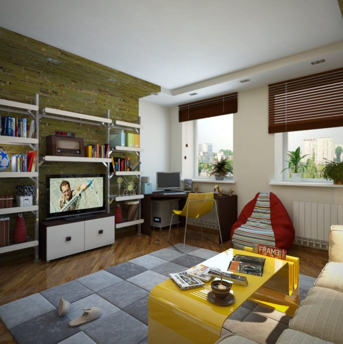 яркая детская спальня для двух мальчиков пример дизайна картинка