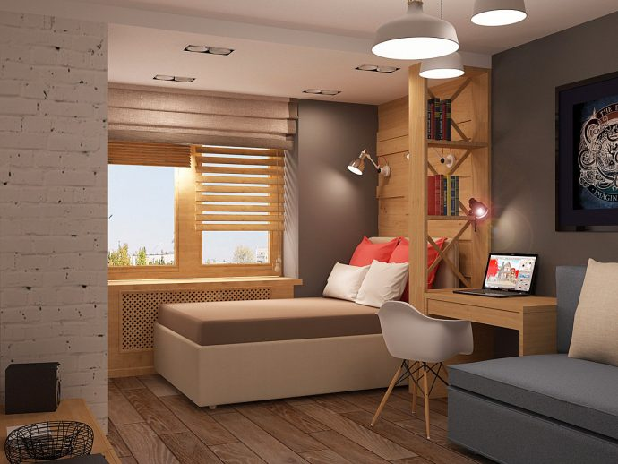 большая спальня в лофт стиле