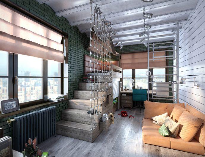 большая детская спальня в дизайне лофт