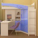 большая детская кровать чердак в интерьере комнаты фото