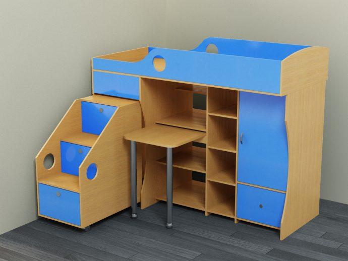 двухъярусная кровать детская чердак в интерьере комнаты
