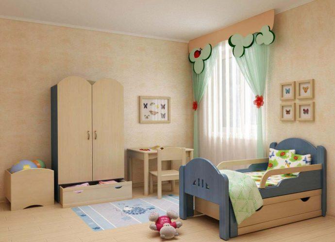 красивая кроватка с бортиками в дизайне комнаты конструкция