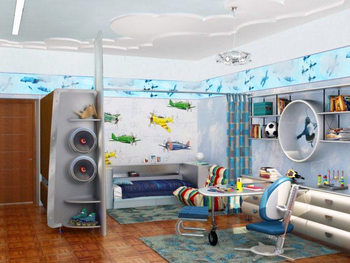 цветная мебель для мальчика в детскую комнату фото
