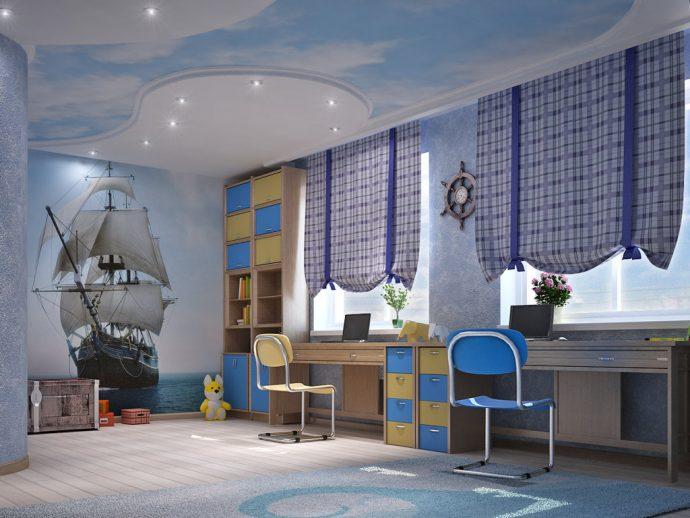 светлая детская мебель для мальчика в комнату фото