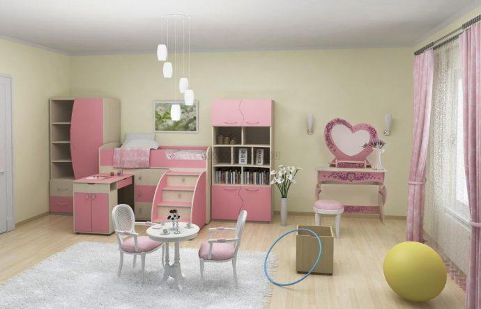 светлая функциональная мебель в спальню для девочки фото дизайна