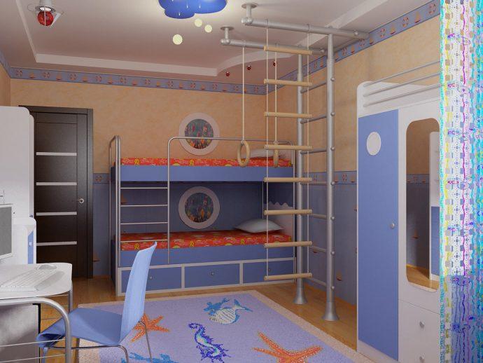светлая комната детская для двоих мальчиков интерьер