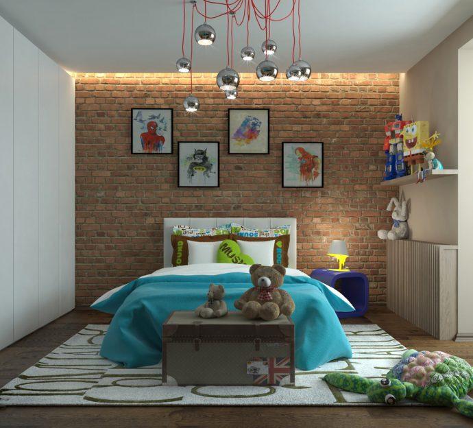 большая детская комната в стиле лофт