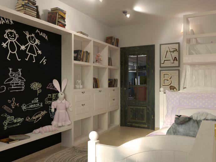 светлая спальня в дизайне лофт