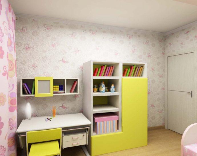 светлая функциональная мебель в спальню для девочки фото