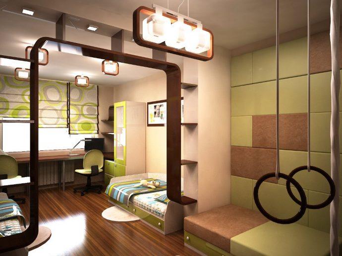 дизайнерская детская комната для двоих мальчиков вид