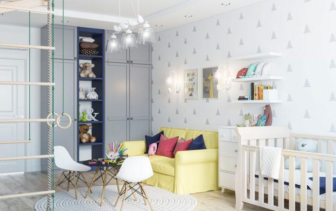 семейная комната в скандинавском стиле