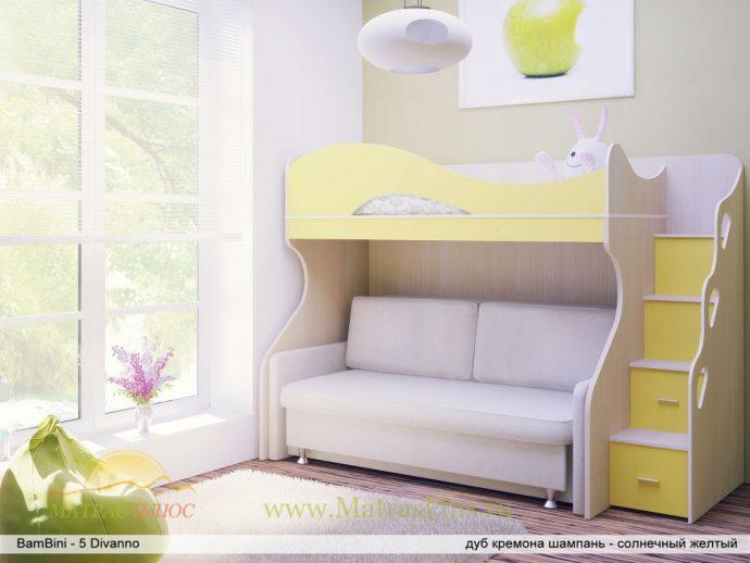 яркая кровать детская чердак в дизайне комнаты фото дизайна