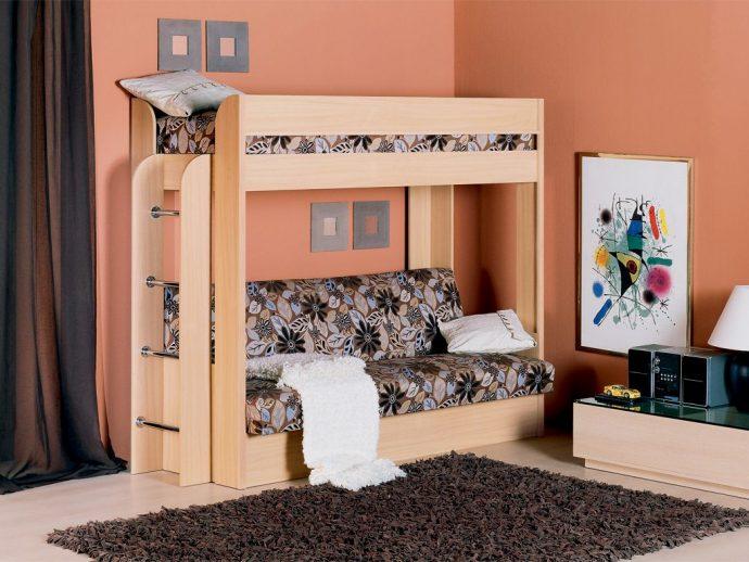большая диван кровать для детей в спальне пример фото