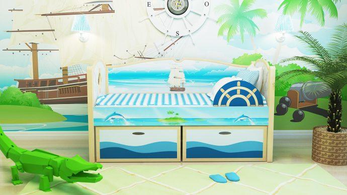 красивая кровать с бортиками в дизайне комнаты фото