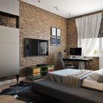 дизайнерская спальня в стиле лофт фото интерьера