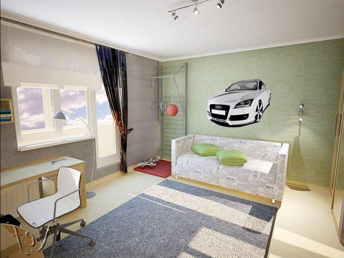 полосатые обои в детскую комнату стандартные интерьер