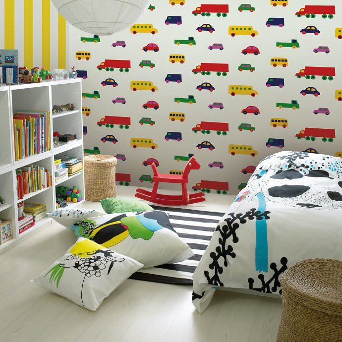 необычные обои в детскую комнату стандартные интерьер