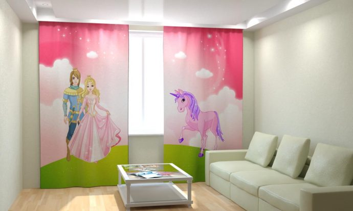 цветные шторы в комнату для девочки в интерьере