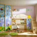 зеркальный раздвижной шкаф купе в детскую дизайн
