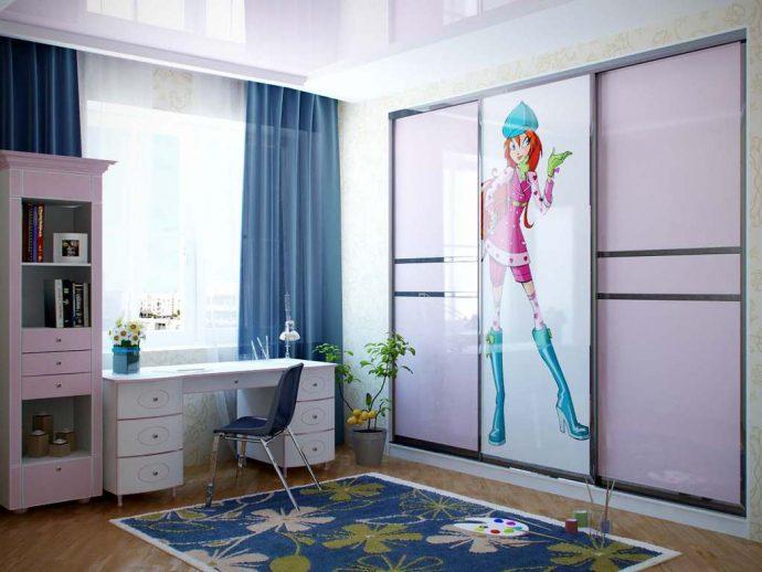 цветной шкаф купе в спальню