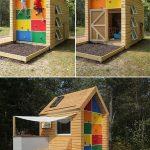деревянная игровая зона сделана собой во дворе