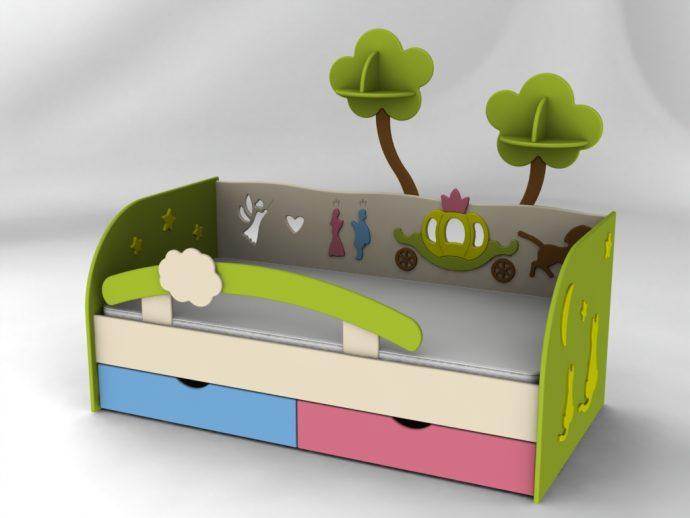яркая детская кроватка с бортиками в интерьере комнаты