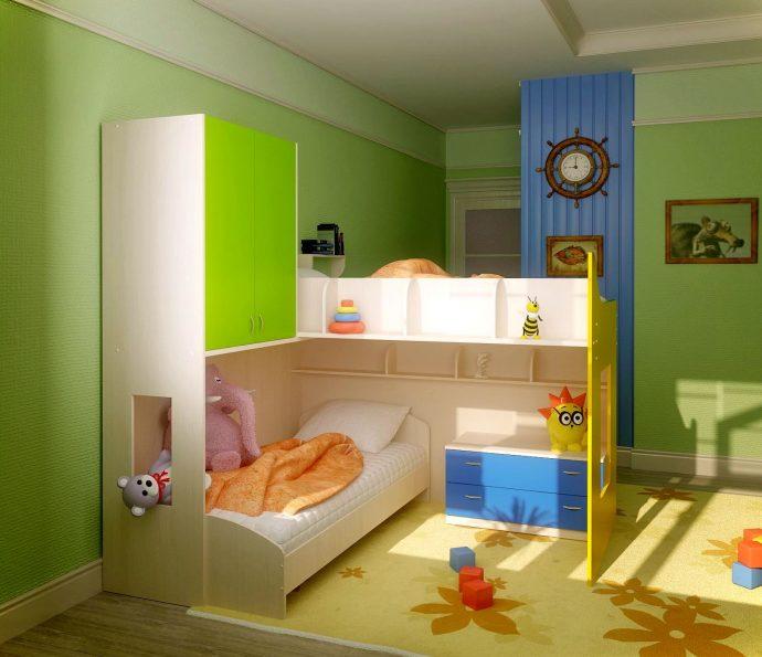 пример интерьера комнаты для детей для двоих детей