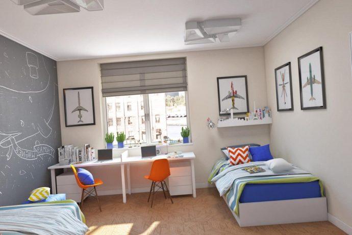 дизайнерская детская спальня для двоих мальчиков интерьер