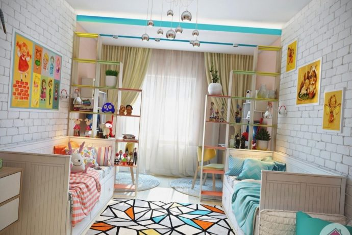 интерьер детской комнаты для двойняшек