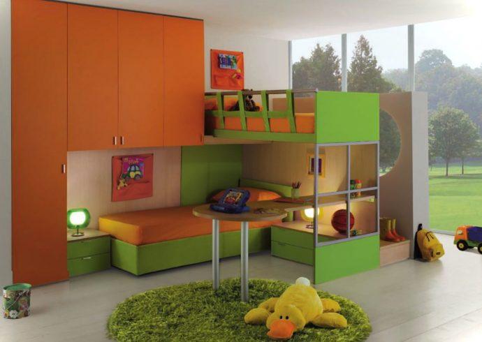 интерьер детской комнаты для нескольких детей