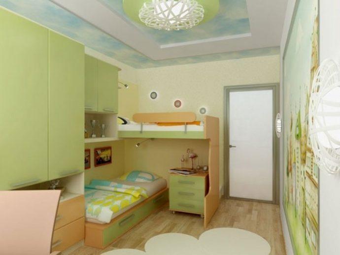 пример дизайна детской спальни для пары детей