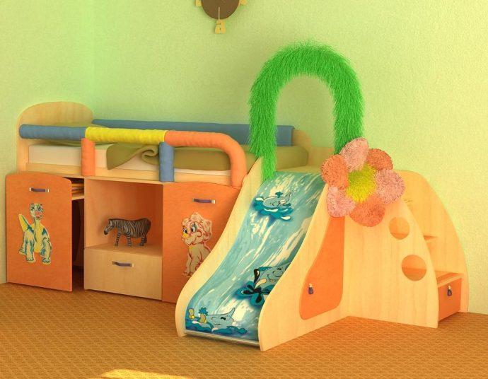 красивая кровать детская из подручных материалов в интерьере фото