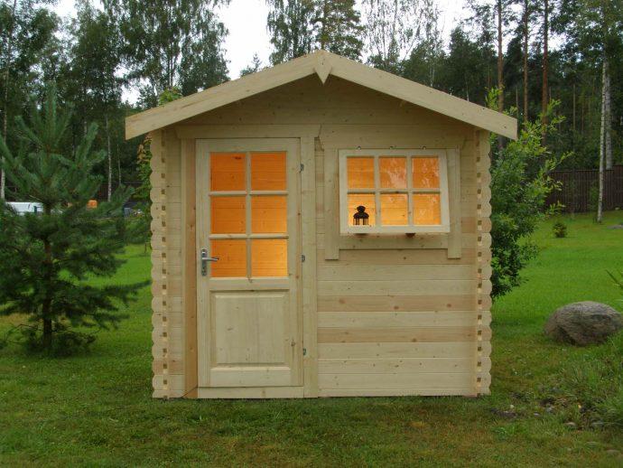 схема игрового домика из массива для дома