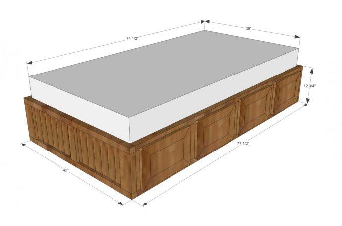 яркая кровать из подручных материалов в интерьере