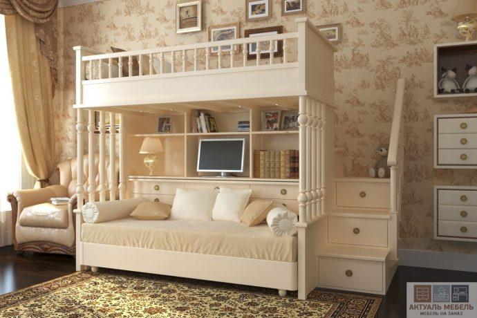 кровать из сосны в комнате