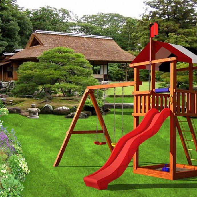 крепкая детская площадка сделана собой дома