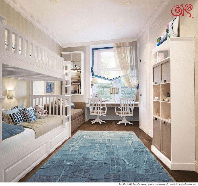 светлая детская спальня для двоих мальчиков вид