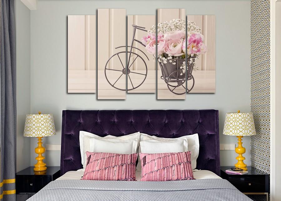 Модульная картина в спальню декорация цветов